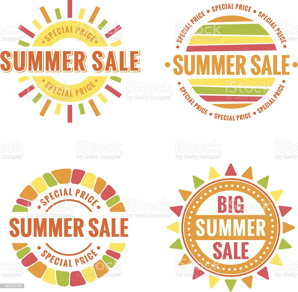 Vector images of summer sale icons vector art illustration