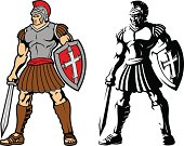 Vector images of two Trojan warriors