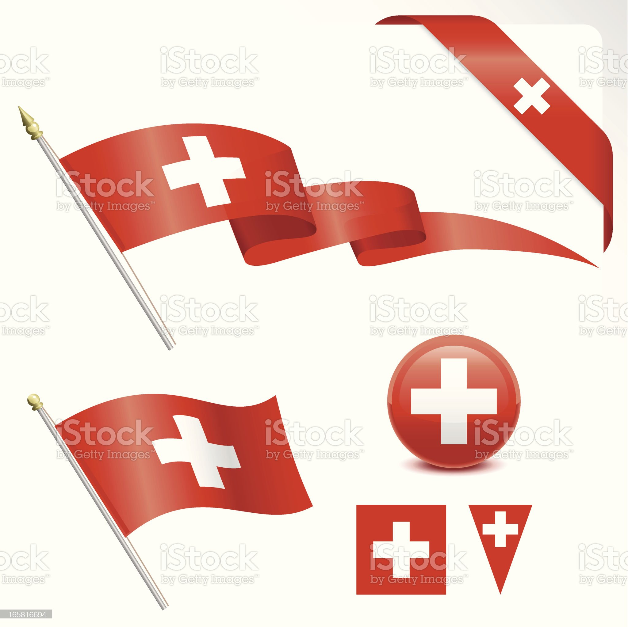 Vector images of various Swiss flag designs royalty-free stock vector art