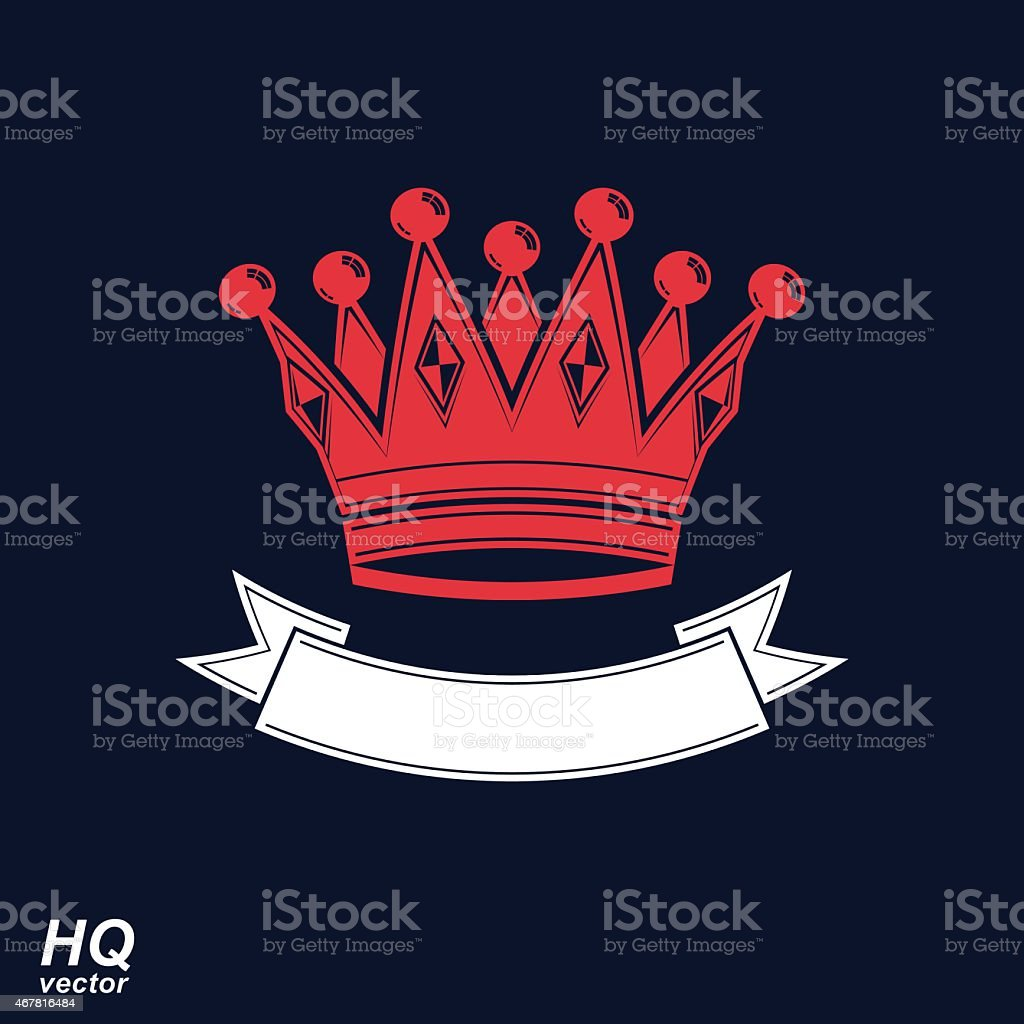 Vector imperial crown with undulate ribbon. Classic coronet vector art illustration