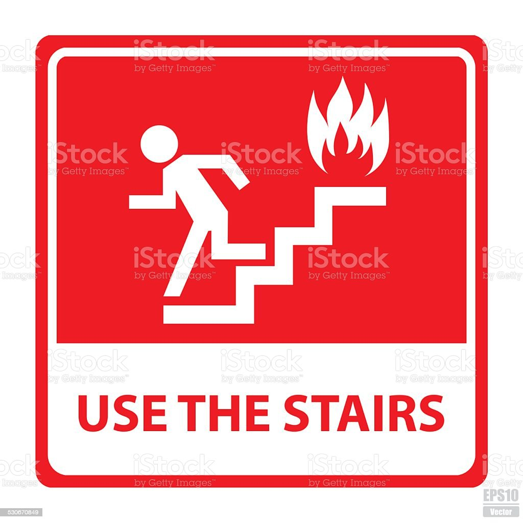 Vector : In case of fire use the stairs sign.Eps10 vector art illustration
