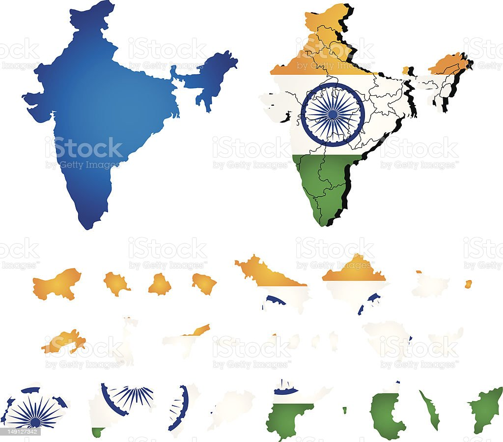Vector India map with flag vector art illustration
