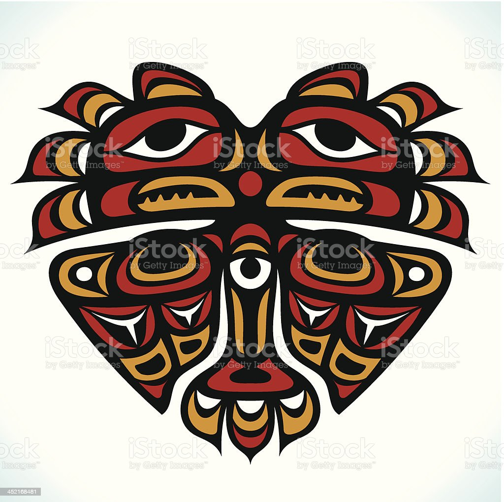Vector Indian pattern in the shape of heart royalty-free stock vector art