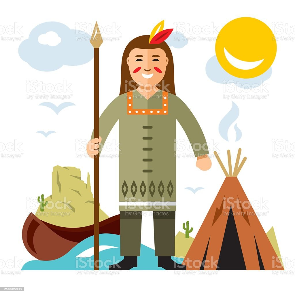 Vector Indian with a spear. Flat style colorful Cartoon illustration. vector art illustration