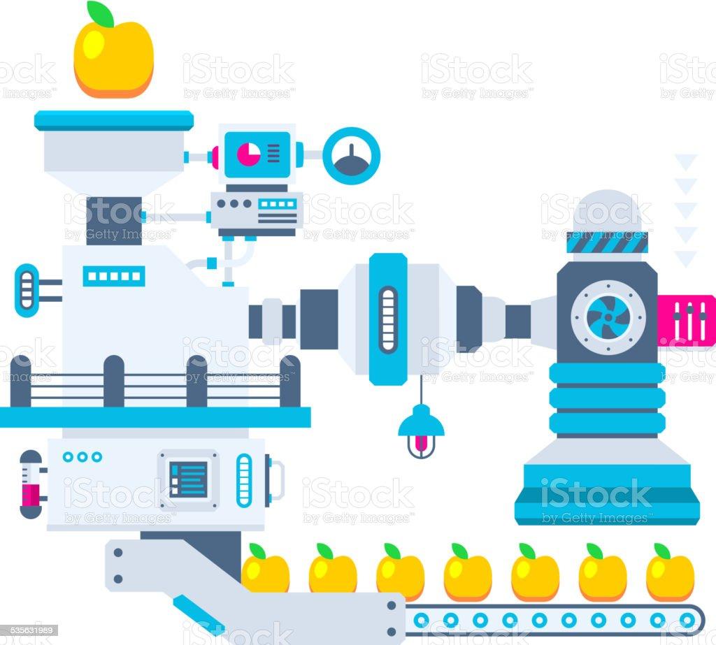 Vector industrial illustration background of the factory vector art illustration