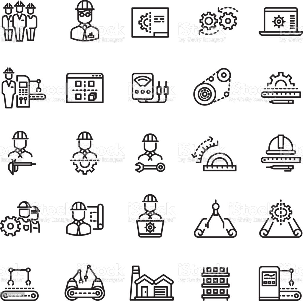 Vector industry engineering mechanical thin line icons vector art illustration