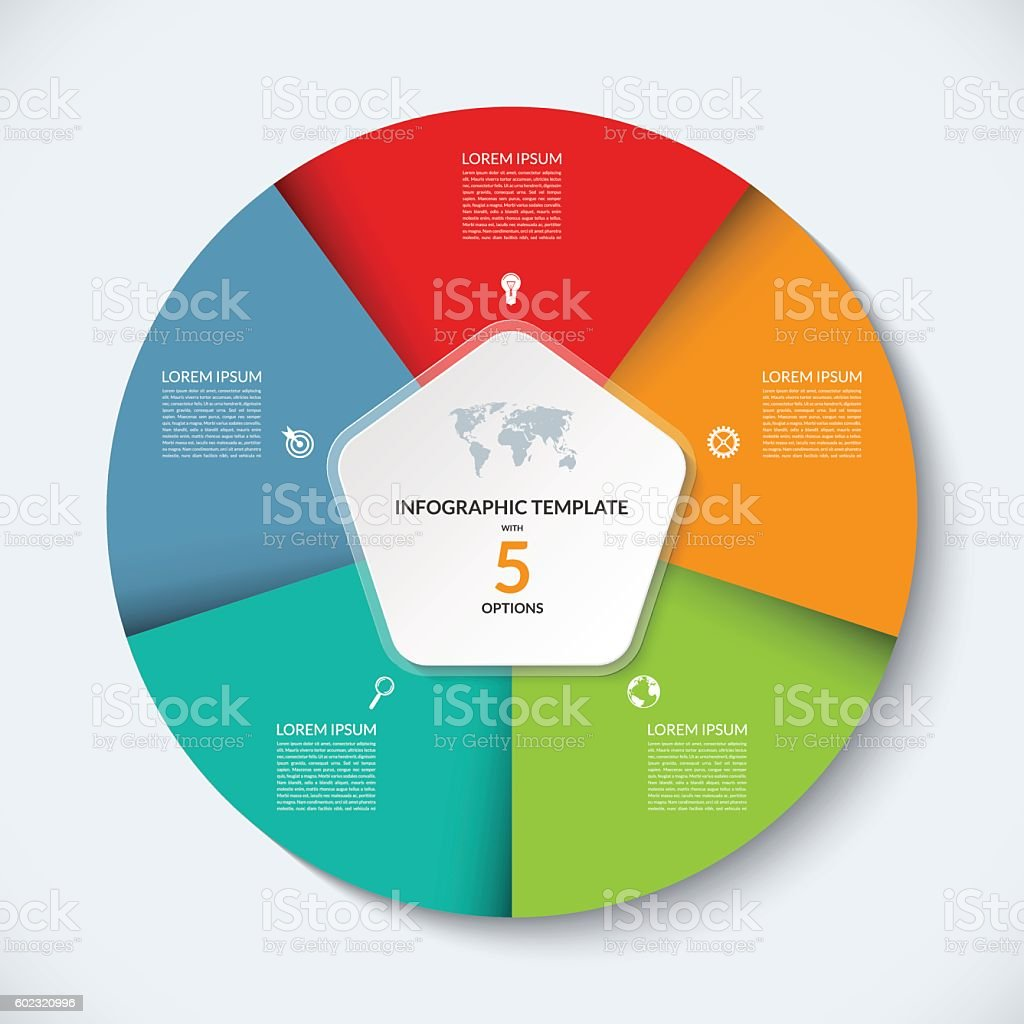 Vector infographic circle template. Business concept with 5 options vector art illustration