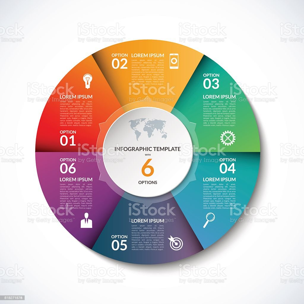 Vector infographic circle template with 6 steps, parts, options vector art illustration
