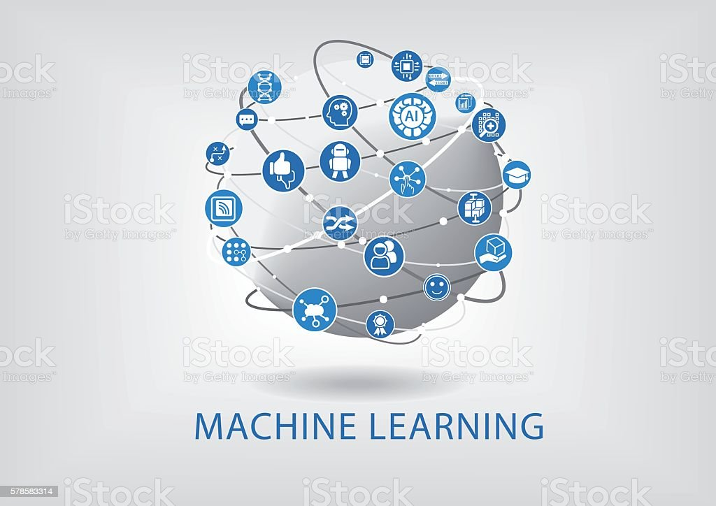 Vector infographic of machine learning concept vector art illustration