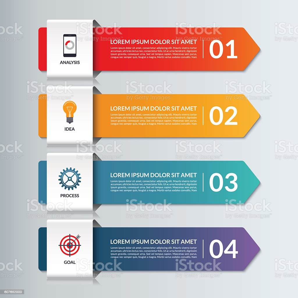 Vector infographic options banner with 4 arrows, steps, parts vector art illustration