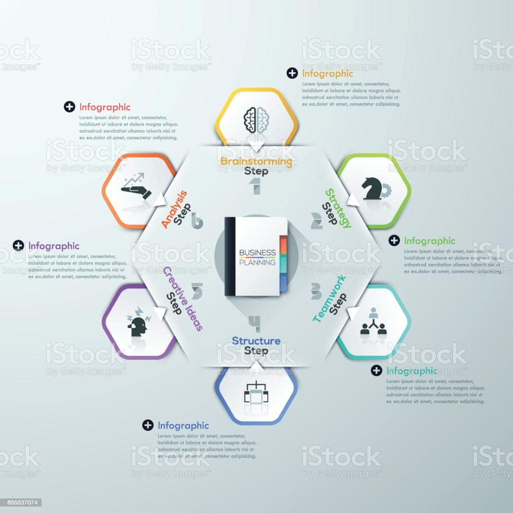 Vector Infographic report template made from lines and icons vector art illustration