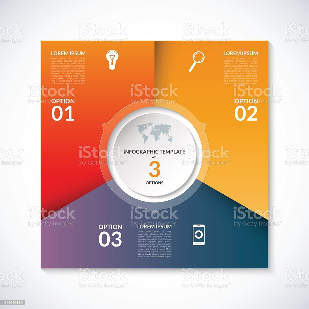 Vector infographic square template with 3 options vector art illustration