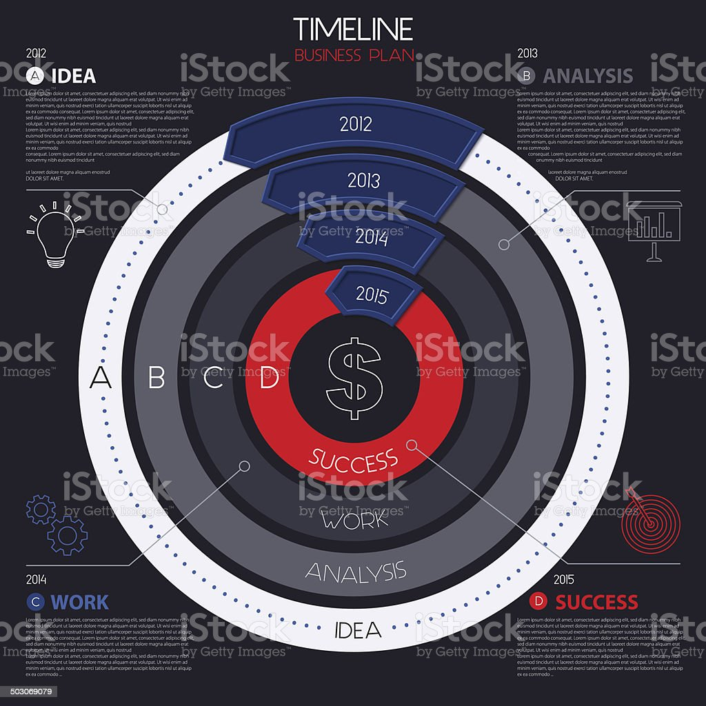Vector infographic timeline showing business plan with icons. royalty-free stock vector art