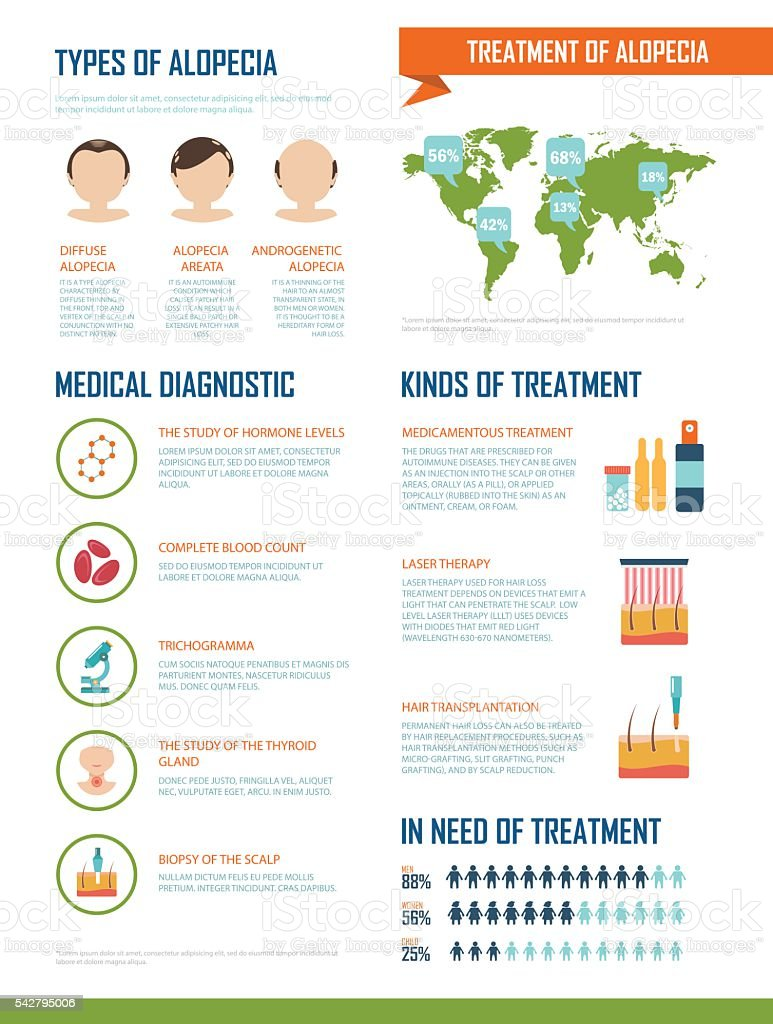 Vector infographics about the treatment and diagnostics of alopecia. vector art illustration