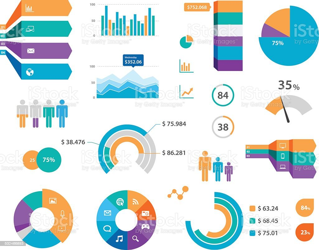 Vector Infographics Chart Labels And Icons vector art illustration