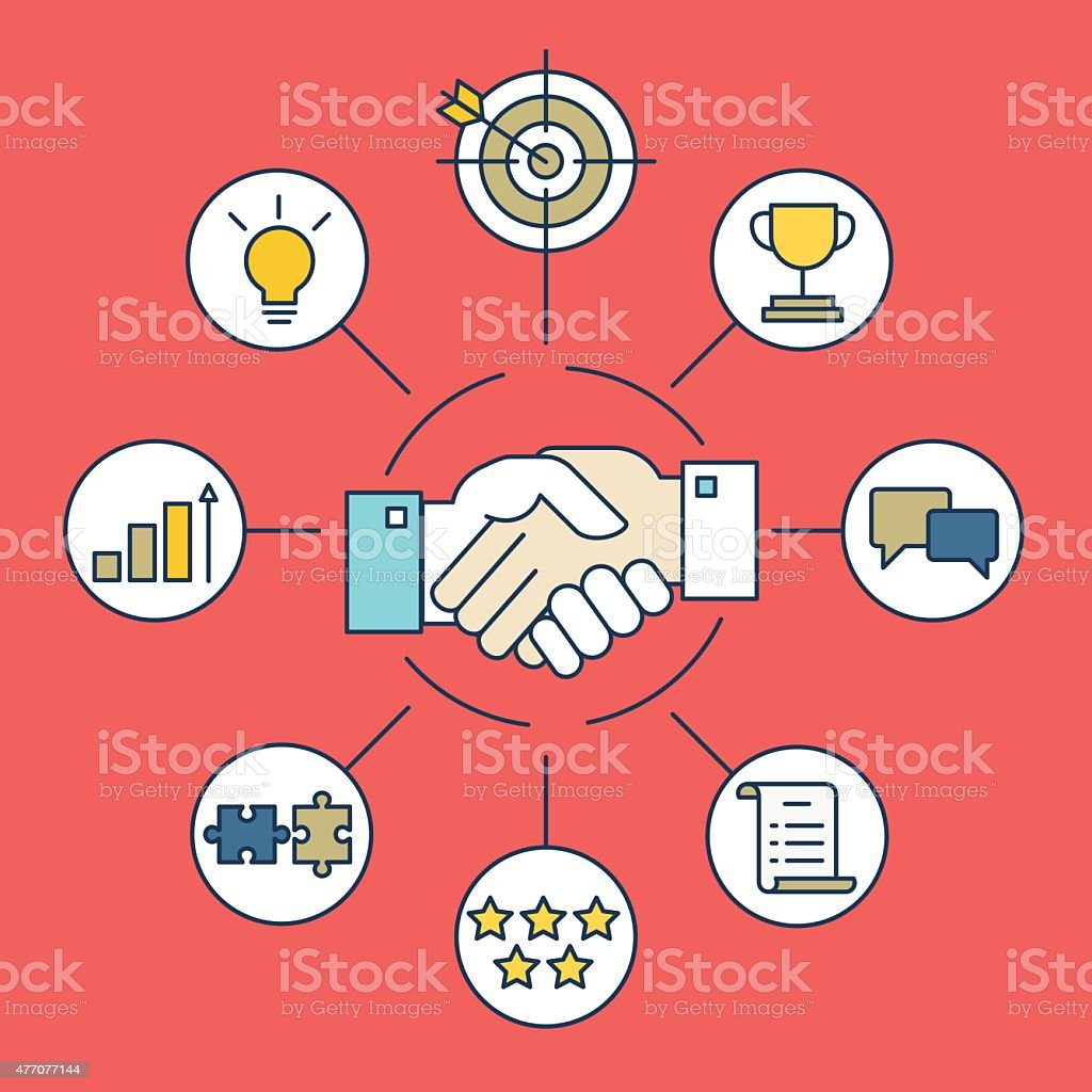 Vector infographics of business deal and interaction vector art illustration
