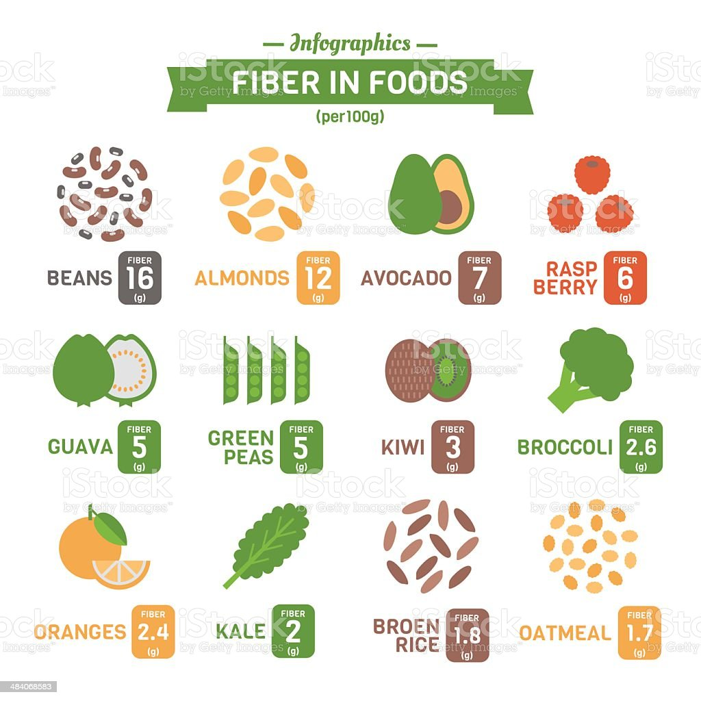 Vector infographics of fiber in foods vector art illustration