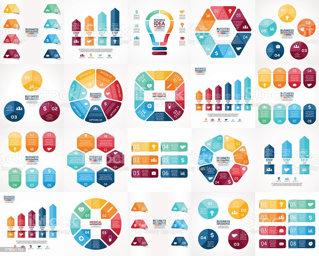Vector infographics set. Templates for cycle diagram, graph, presentation and royalty-free stock vector art