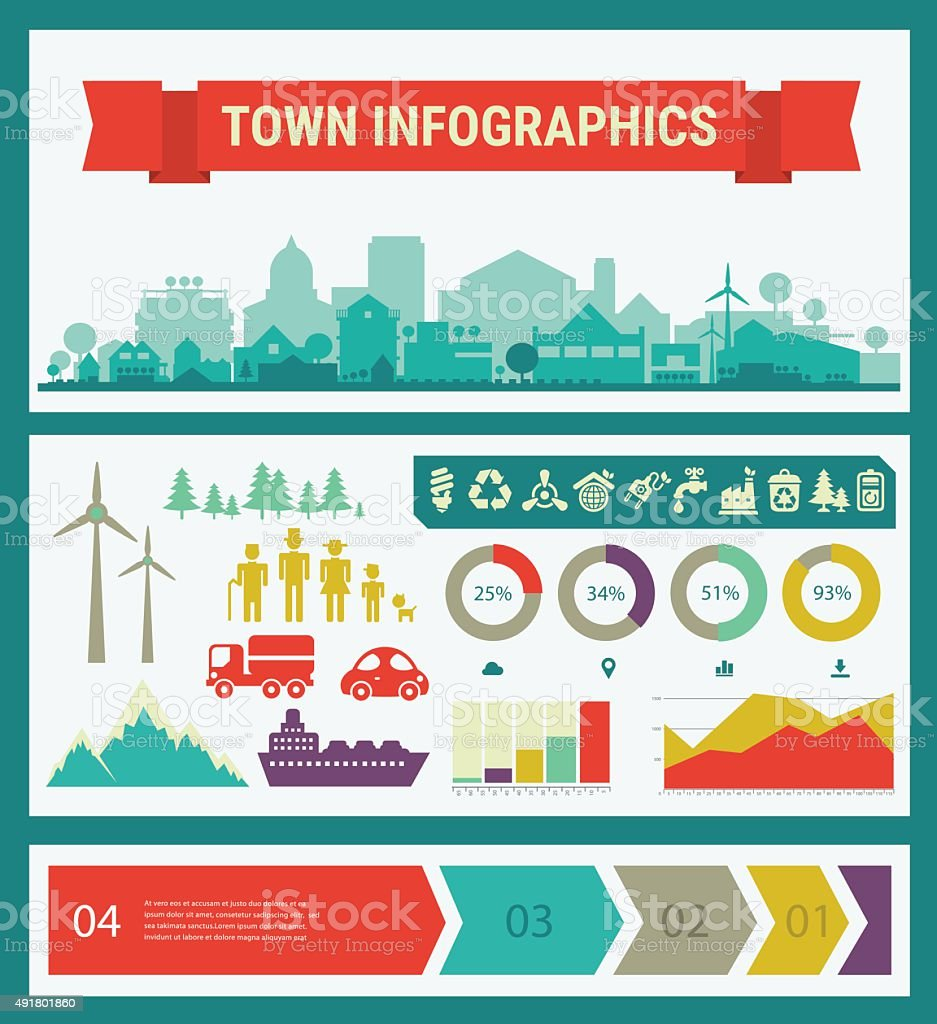Vector infographics. Town and village vector art illustration