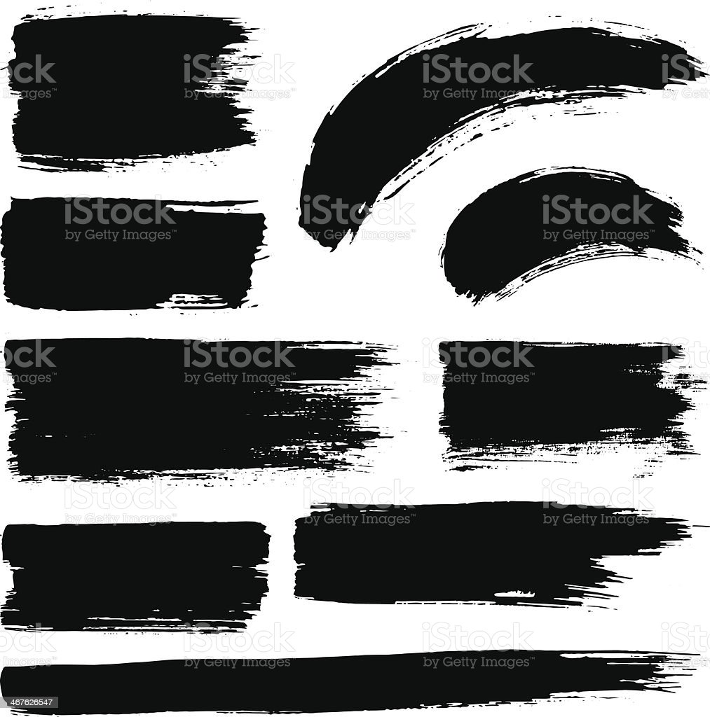 Vector Ink Stroke Set vector art illustration
