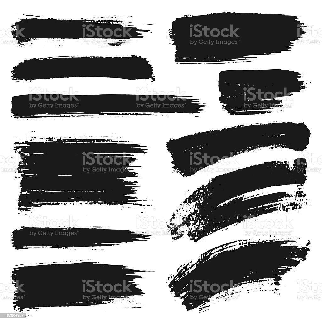 Vector Ink Stroke Set vector art illustration