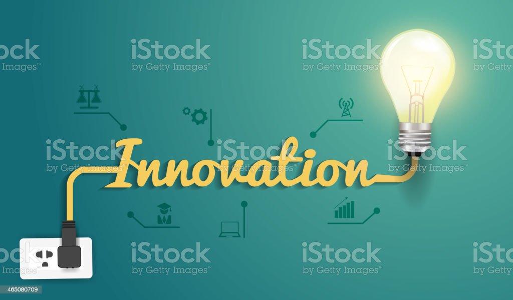 Vector innovation concept with creative light bulb idea royalty-free stock vector art