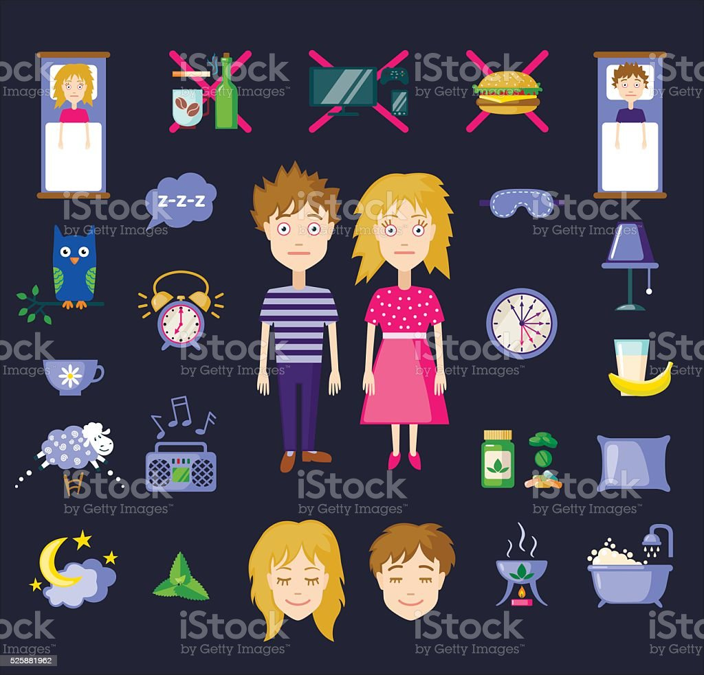 Vector insomnia icons in flat style vector art illustration