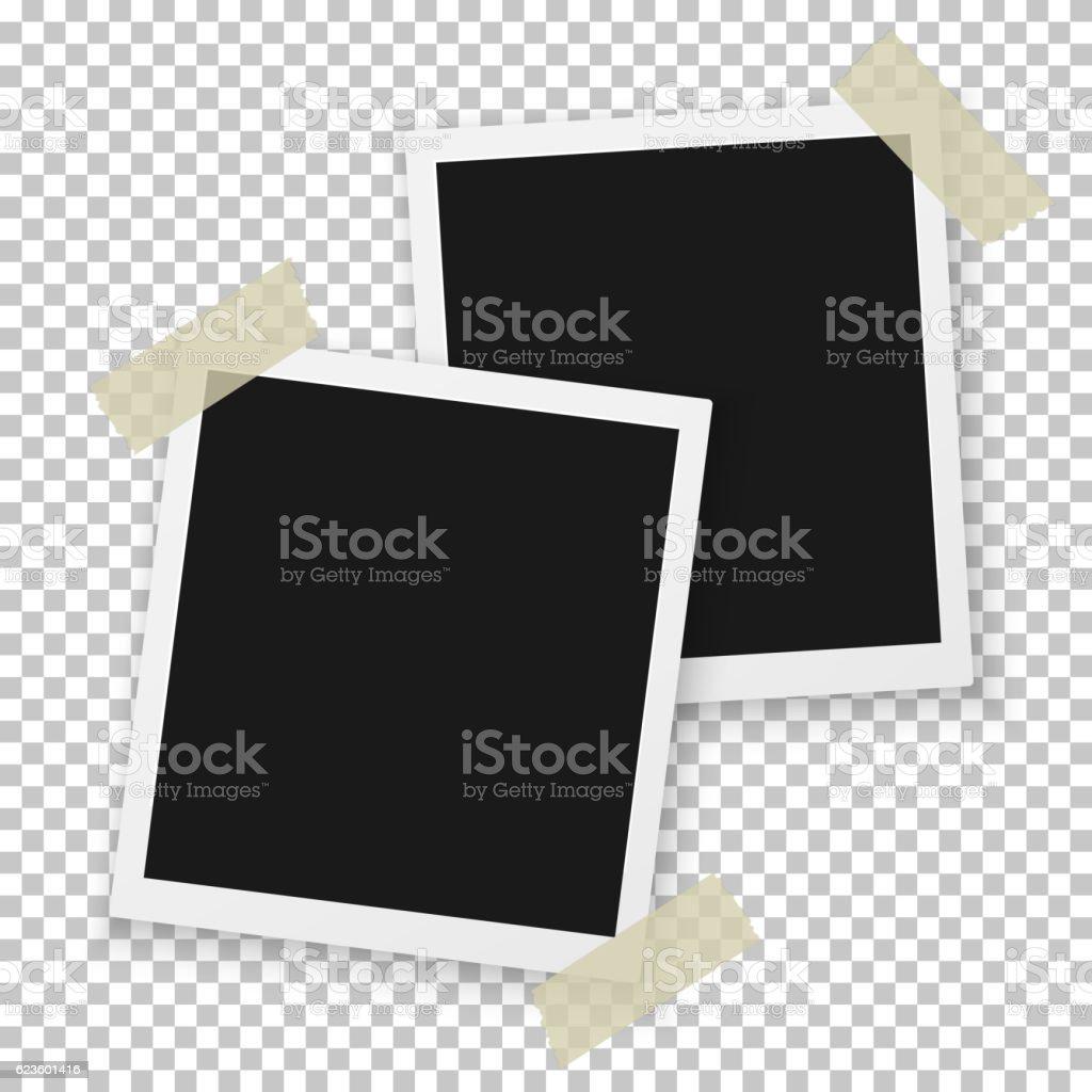 Vector Instant Photo. Blank Vintage Photo Frame Mockup. Photorea vector art illustration