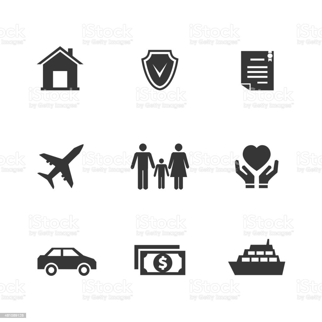 Vector insurance icons with hands vector art illustration