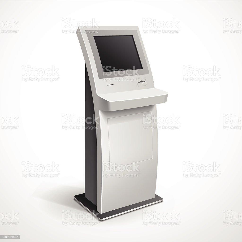 Vector Interactive Information Kiosk Terminal Stand Screen vector art illustration