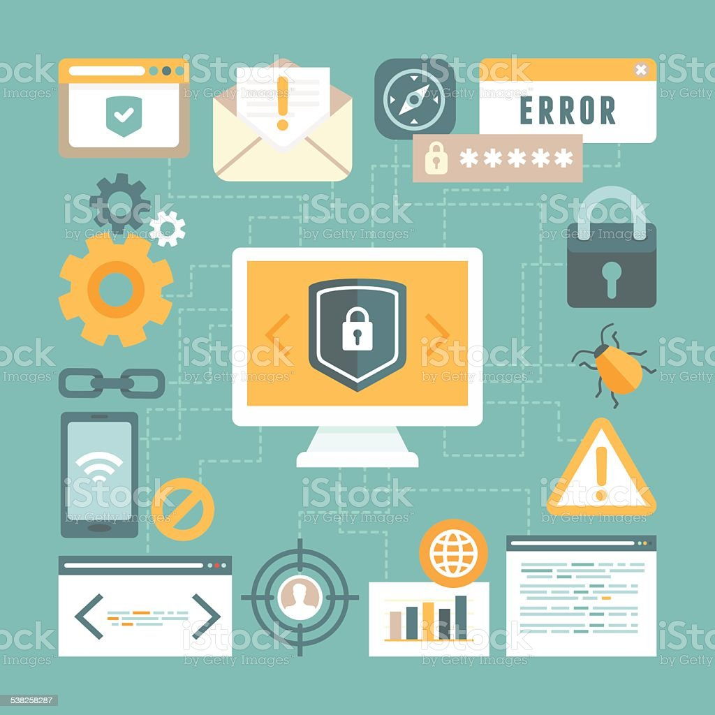 Vector internet and information security concept in flat style vector art illustration