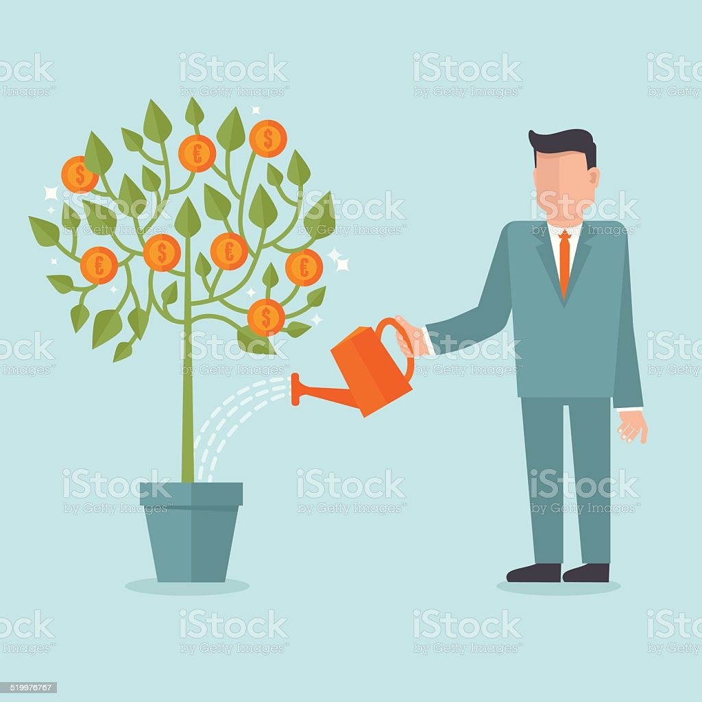 Vector investment concept in flat style vector art illustration