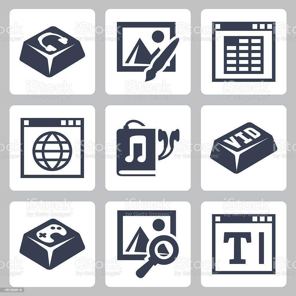 Vector isolated applications icons set vector art illustration