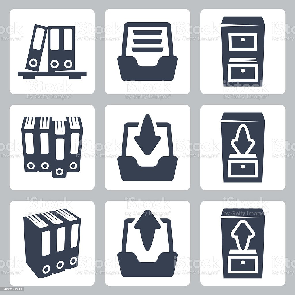 Vector isolated archive icons set vector art illustration