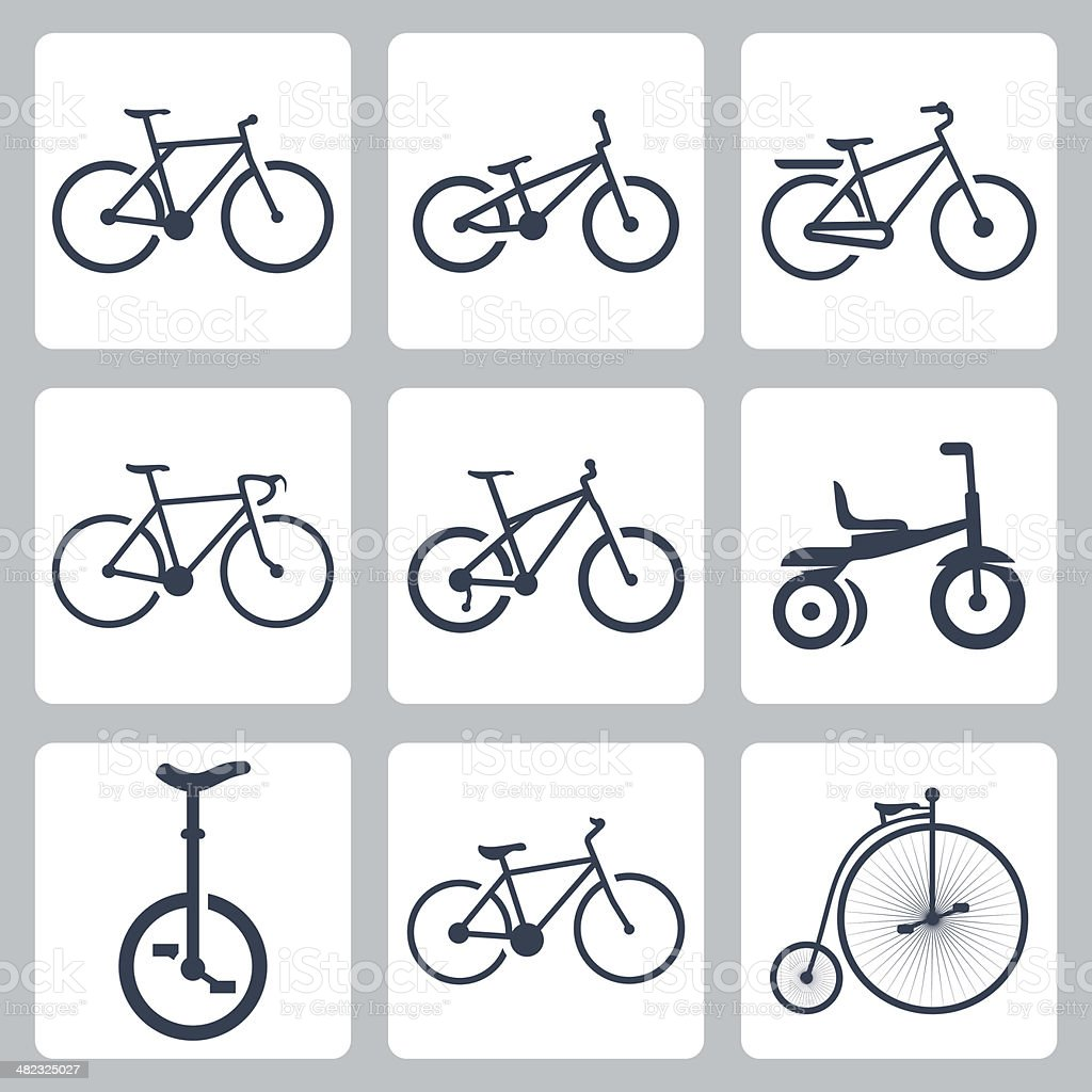 Vector isolated bicycles icons set vector art illustration