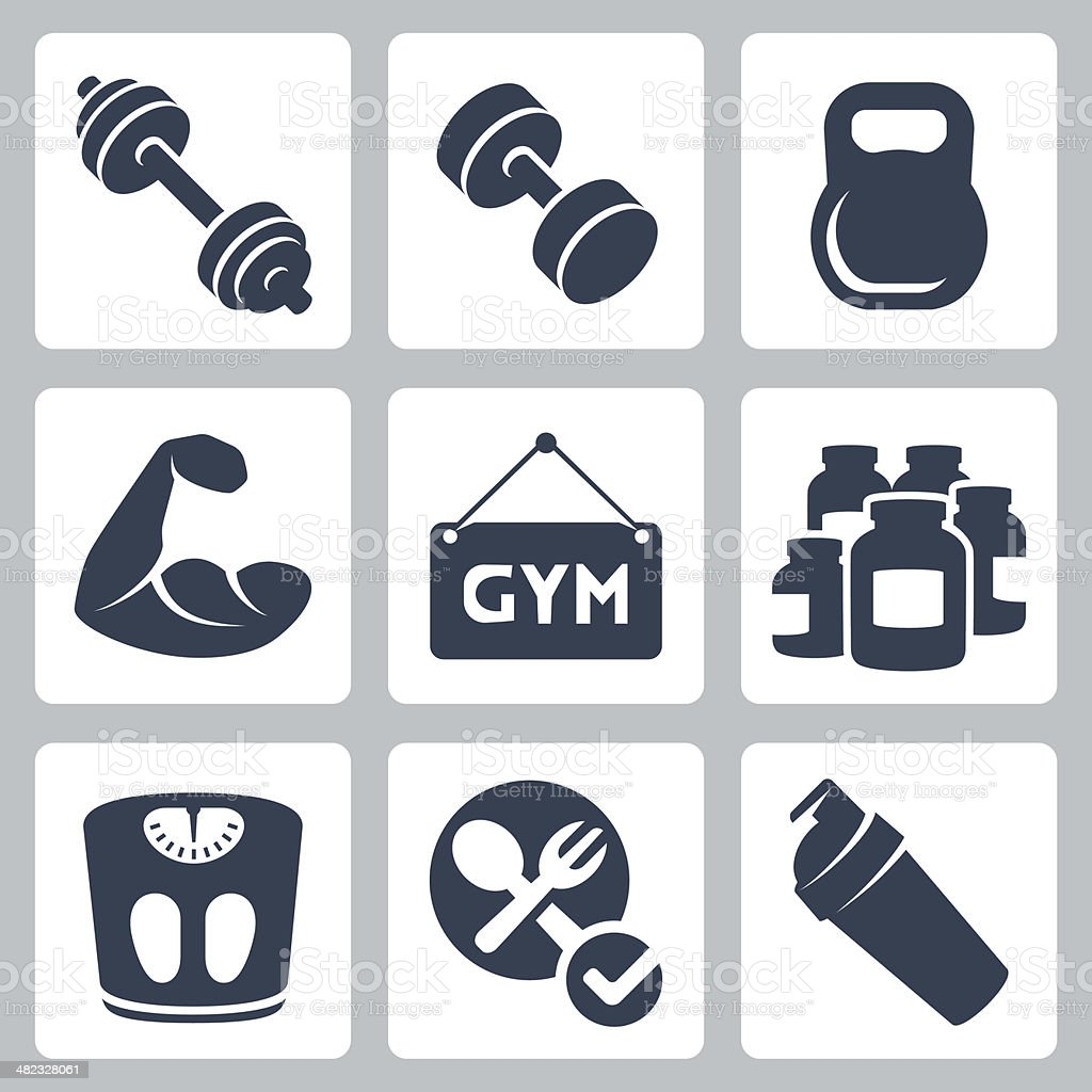 Vector isolated bodybuilding/fitness icons set vector art illustration