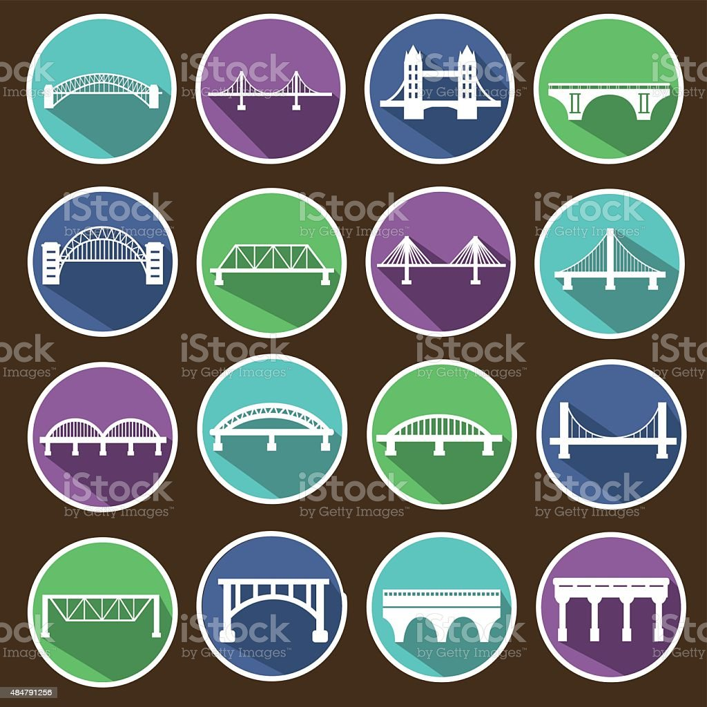 Vector isolated bridges icons set. vector art illustration