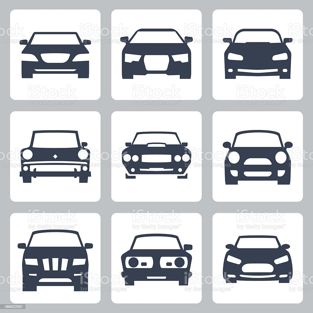 Vector isolated cars icons set vector art illustration
