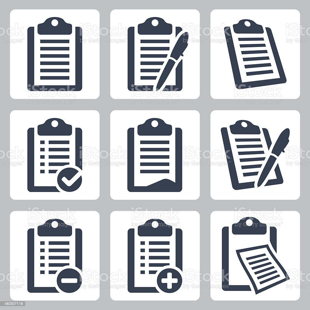 Vector isolated clipboard, checklist icons set vector art illustration