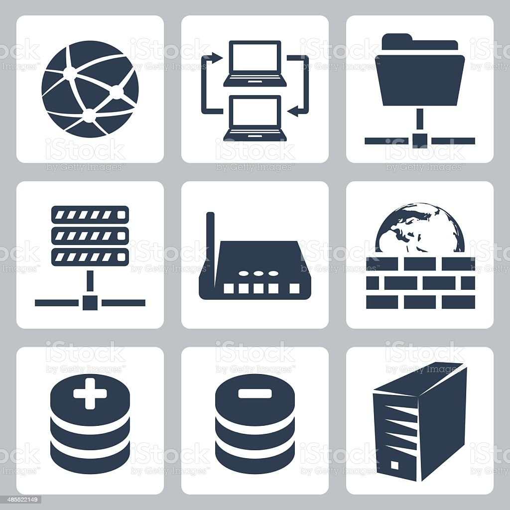 Vector isolated computer network icons set vector art illustration