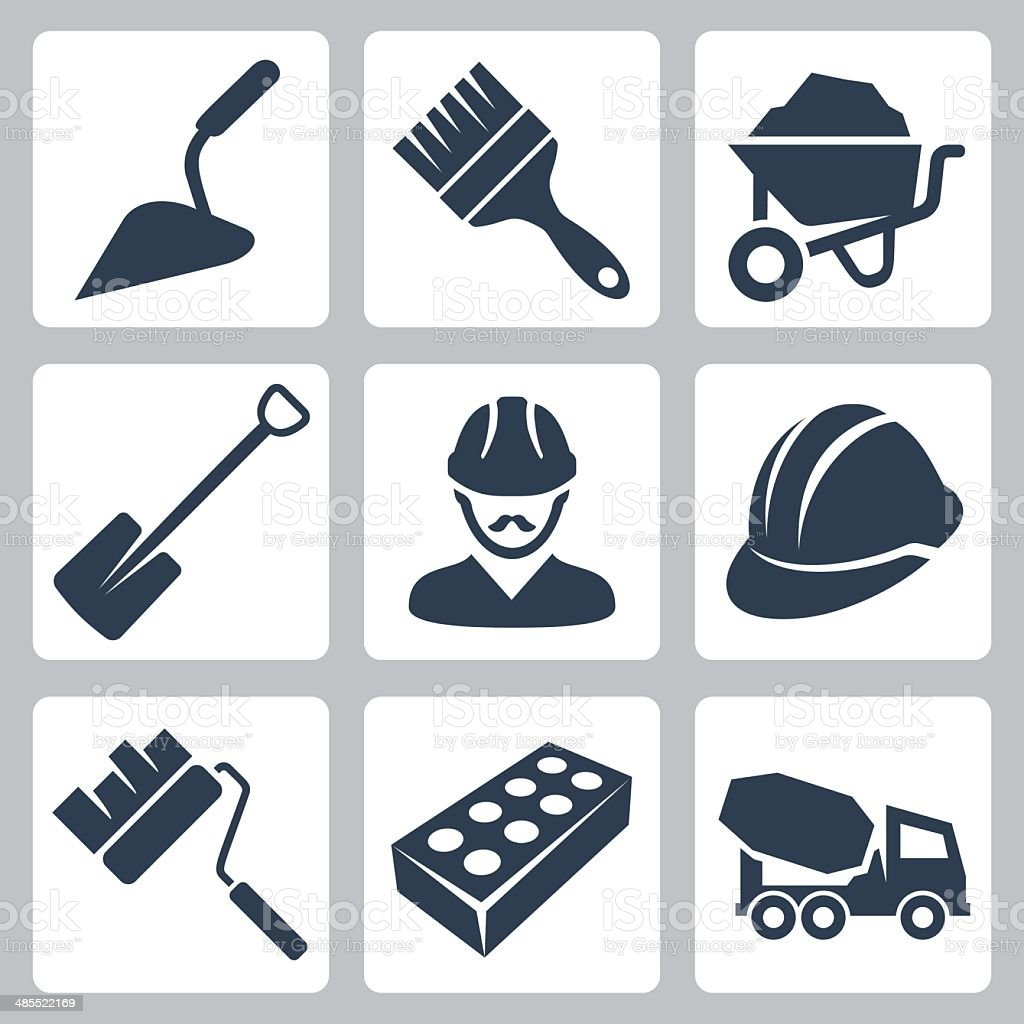 Vector isolated construction icons set vector art illustration