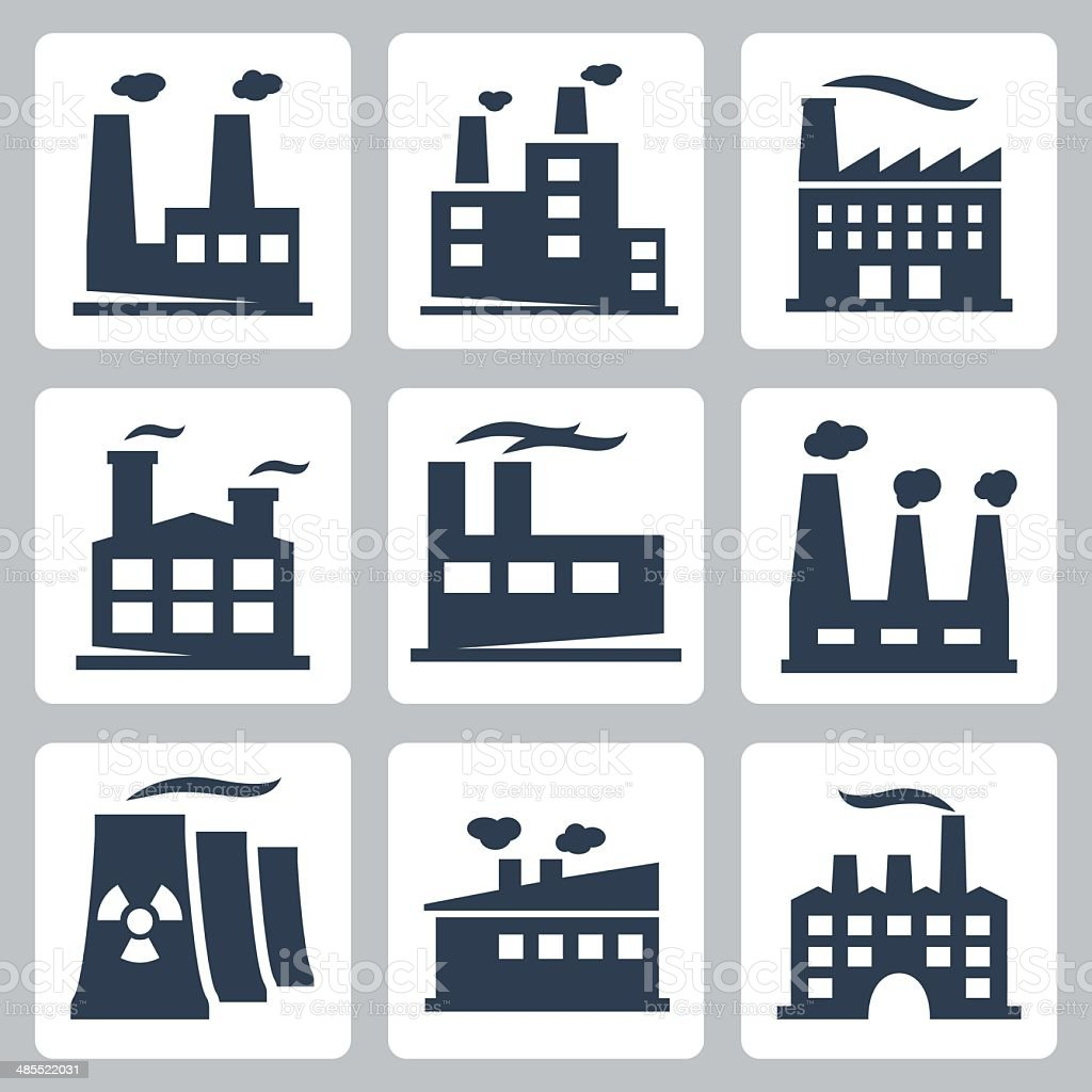 Vector isolated factory icons set vector art illustration