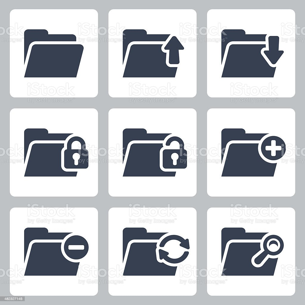 Vector isolated folder icons set vector art illustration