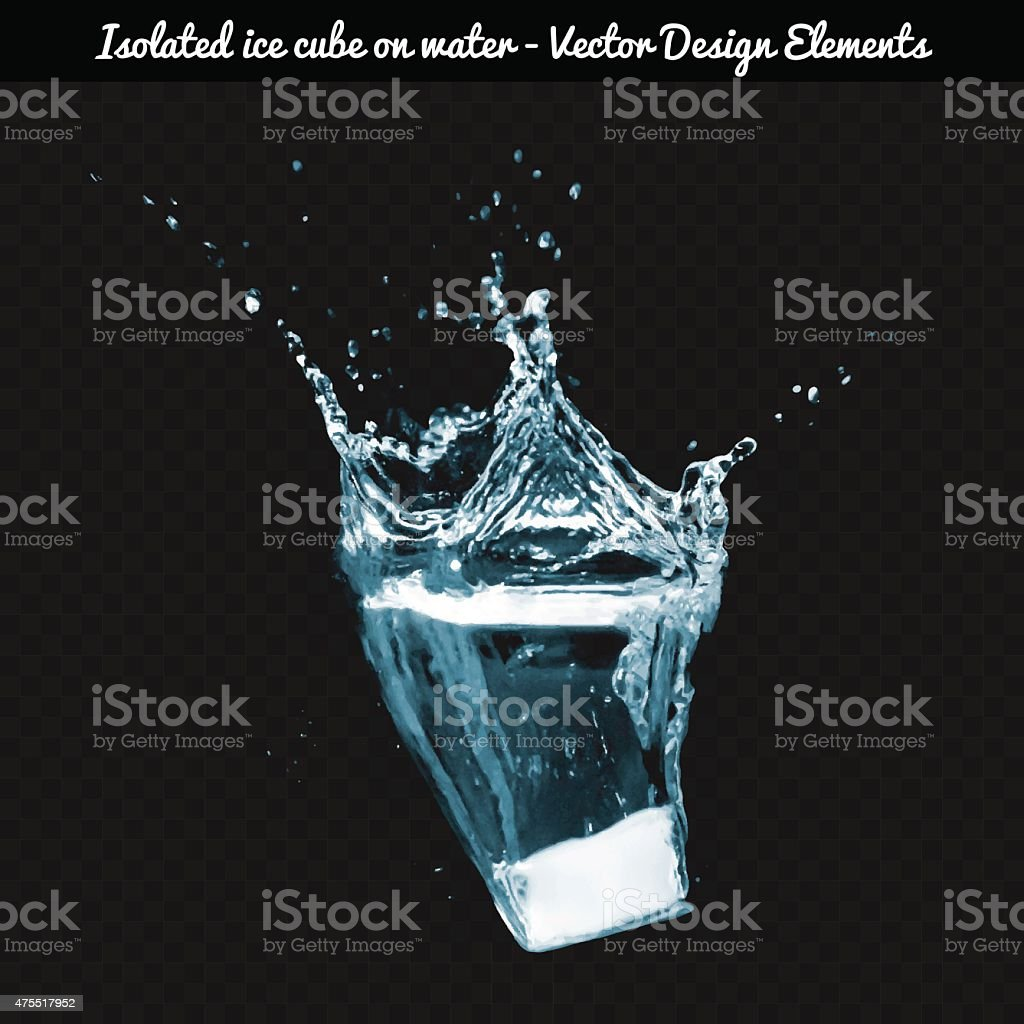 Vector Isolated ice cube dropped on water. vector art illustration