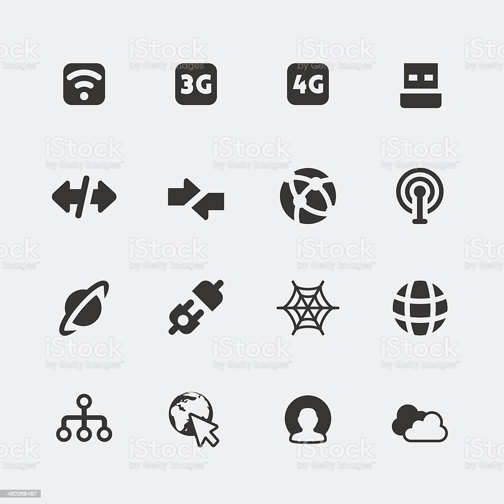 Vector isolated internet and connection mini icons set vector art illustration