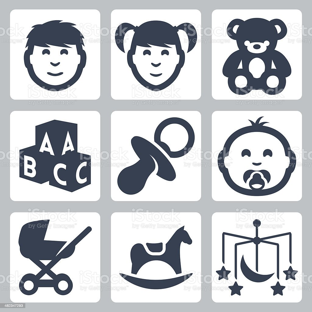 Vector isolated 'kids' icons set vector art illustration