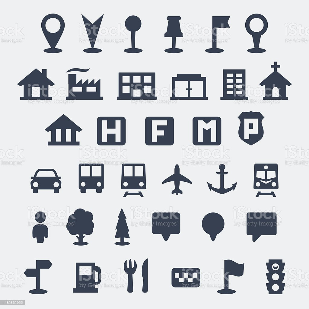 Vector isolated map icons set vector art illustration