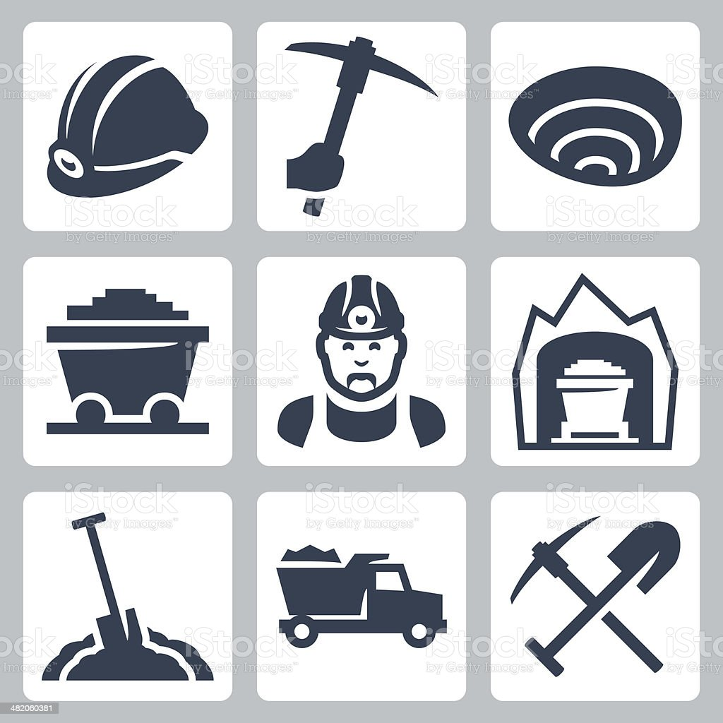 Vector isolated mining icons set vector art illustration