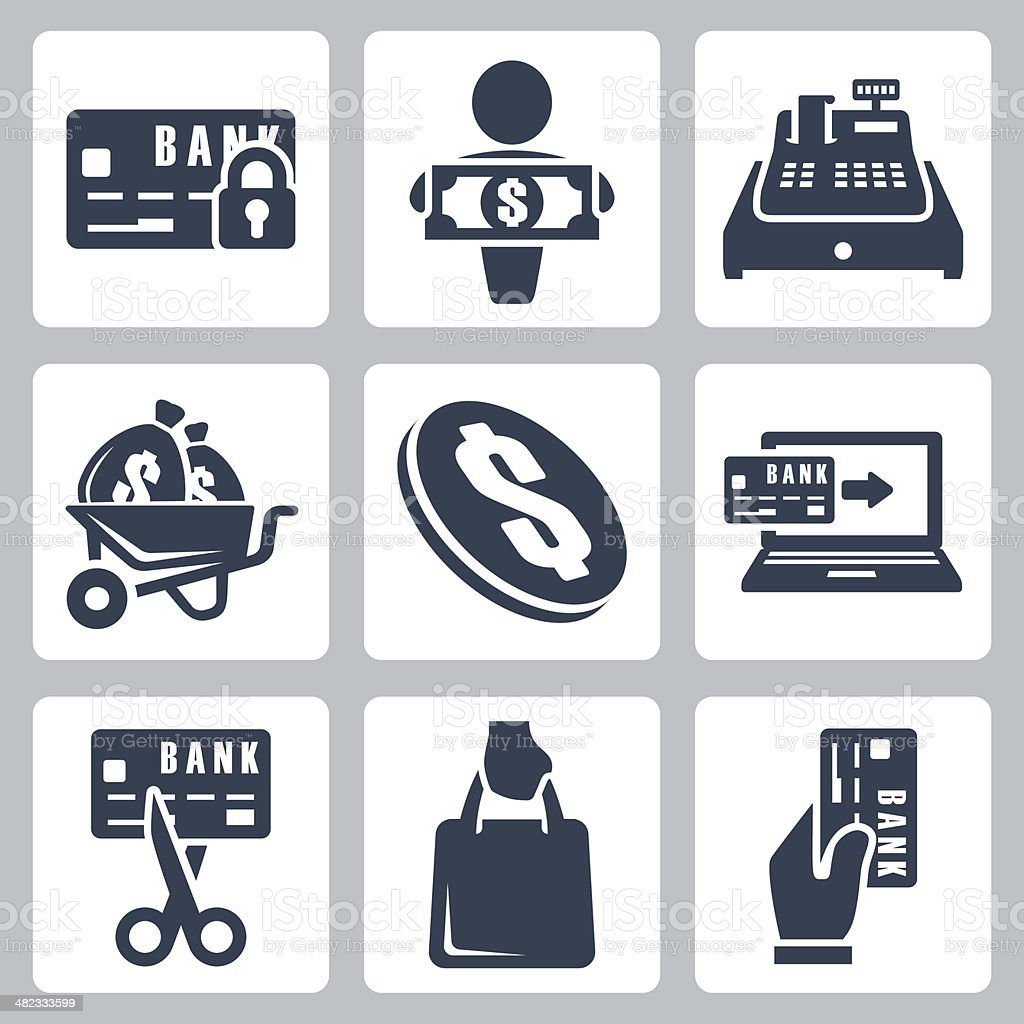 Vector isolated money icons set vector art illustration