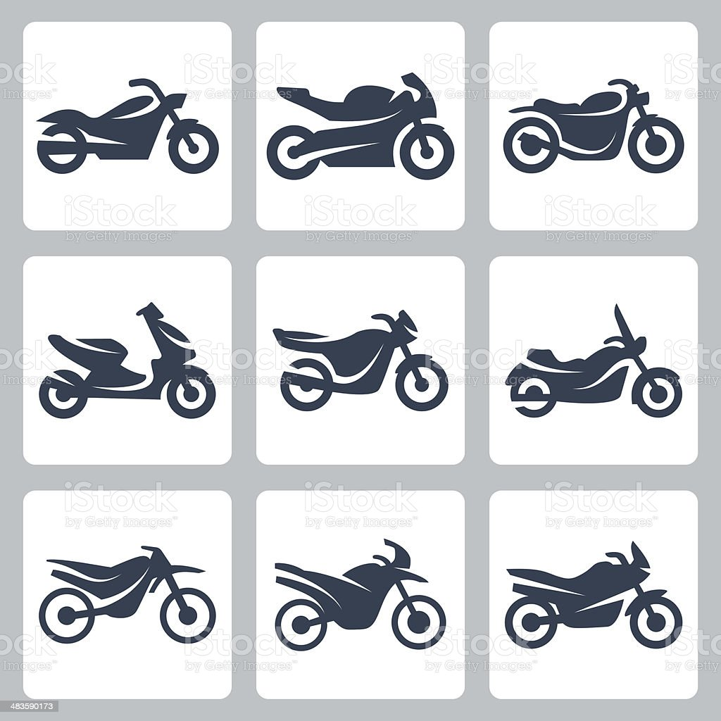 Vector isolated motorcycles icons set vector art illustration